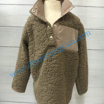 PREORDER Monogram Sherpa Pullover, Fleece Sherpa Pullover, Monogrammed Pullover - MOCHA Child and Adult