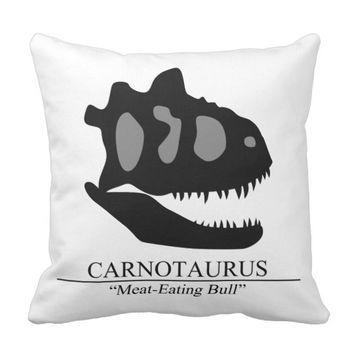 Carnotaurus Skull Throw Pillow