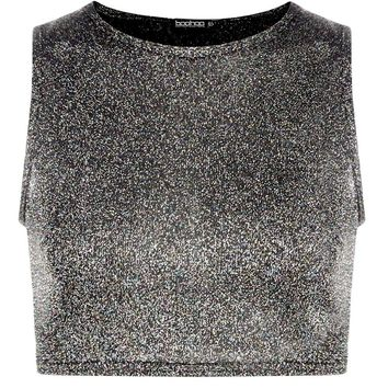 Fiona Glitter Open Back Crop Top | Boohoo