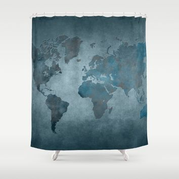 World map 6 blue Shower Curtain by jbjart