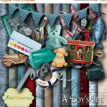 ON SALE A Boy's Life Boy Scrapbooking Kit Boy printable Boy Papers Printable Boy Backgrounds 12x12 Papers Boy Paper Free Quickpage Layout