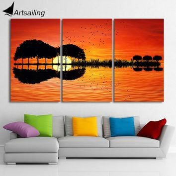 3 piece canvas wall art HD Printed guitar tree lake sunset Painting room decor print poster picture Free shipping/CU-1311B