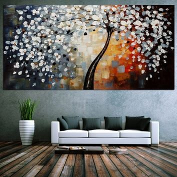 Modern Modern Abstract Art Canvas Print Home Wall Decor Landscape Oil Painting Flower Tree Huge No Frame