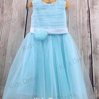 A-line Scoop Tulle Satin Blue Flower Girl Dress With Sash