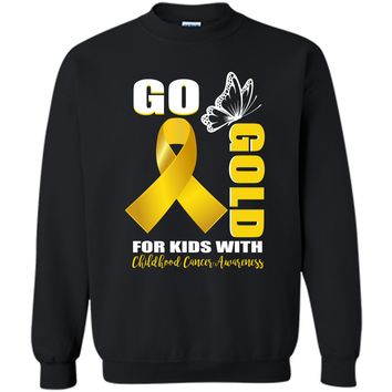 Childhood Cancer Awareness Shirt Go Butterfly-Gold For Kids Printed Crewneck Pullover Sweatshirt 8 oz