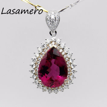 LASAMERO Halo 0.2CT Round Cut  Floral Hollow Filigree Pave Set 18k white Gold Tourmaline Pendant Necklace