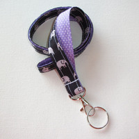 Lanyard ID Badge Holder - Black and gray elephants with white pin polka dots on lavender purple - Lobster clasp and key ring