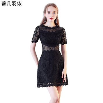 Sexy Hollow Out Black Lace A-line Short Prom Dress Hollow Out 2018 New Arrival Illusion Appliqued Banquet Evening Gown Vestidos
