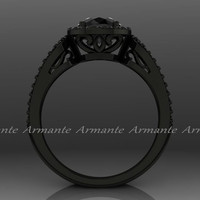Black Diamond Black Gold Halo Engagement Ring. 14k White Gold Wedding Ring Re00012wbk