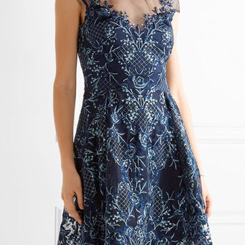 Marchesa Notte - Asymmetric embroidered tulle mini dress
