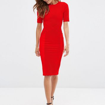 ASOS Seamed Structured Rib Bodycon Dress