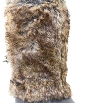 Grey Vegan Fur Rivet Studded Flat Mukluk Outdoor Boots