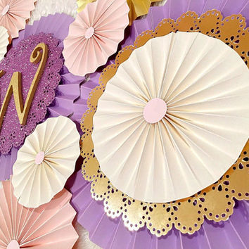Paper Rosettes - Paper Fans - Gold Paper Rosettes - Pinwheel Backdrop - Nursery Decoration - Birthday Decoration - Baby Shower Decor