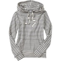 Old Navy Womens Jersey Tee Hoodies - Charcoal stripe
