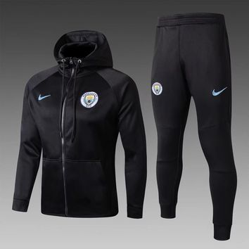KUYOU Manchester City 2017/18 Black Hoodie Men Jacket Tracksuit Slim Fit