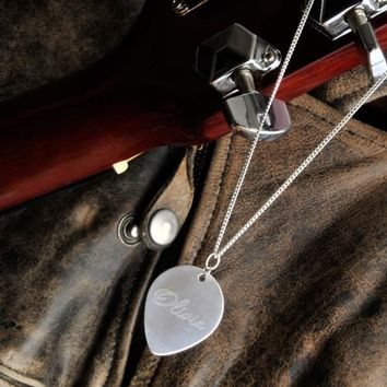Personalized Sterling Silver Guitar Pick Necklace