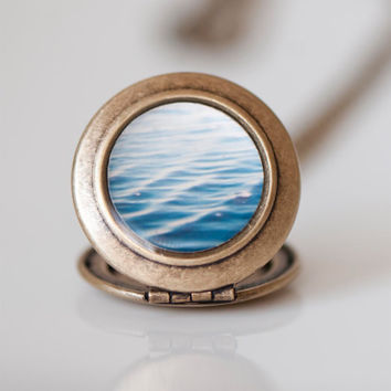 Ocean Sea Locket, Small Round Brass Locket, Gift For Ocean Lovers, Sea, Water Ripples, Teal, Locket Necklace