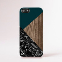 Marble Print iPhone Case Geometric Case Wood Print Green iPhone Case Gorgeous Forest Green Autumn Color Black Marble Wood Print Trendy Cases