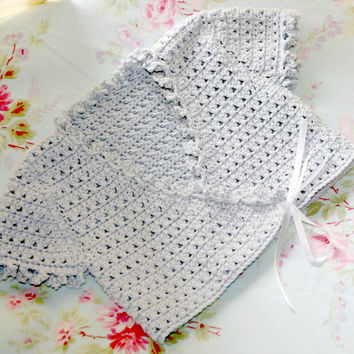 Baby crochet ballerina cardigan silver Debbie Bliss eco friendly organic cotton fair trade quality girl clothes toddler 12 to 18 months