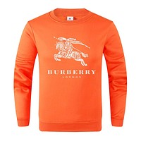 BURBERRY Fashion Women Men Leisure Print Long Sleeve Sweater Top Orange