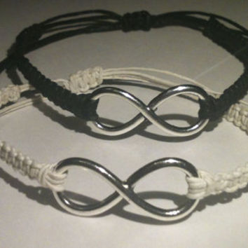 His and Hers Large Infinity Bracelets Couples Bracelets Friendship Bracelets You Choose Color