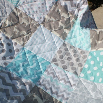 Baby quilt,teal,grey,patchwork crib quilt,gray,woodland,rustic,organic,baby boy bedding,baby girl blanket,crib bedding,deer,elk,chevron