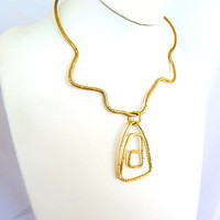 Gold tribal necklace, brass collar with pendant, hammered abstract choker necklace, gift under 40