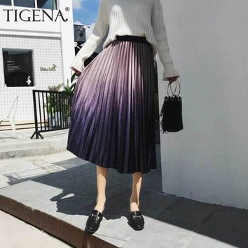 TIGENA Gradient Color Velvet Elegant Long Skirts Women Fashion Winter High Waist Pleated Skirt Female