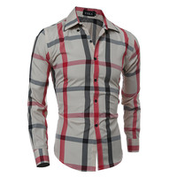 Classics Plaid Men Casual Slim Long Sleeve Tops Shirt [6544496387]