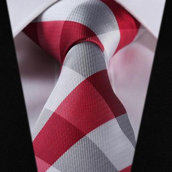Red Check Silk Tie Necktie Pocket Square