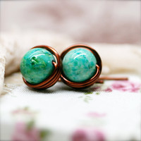 Sophine ear studs - Green fossil - 8mm (SS)