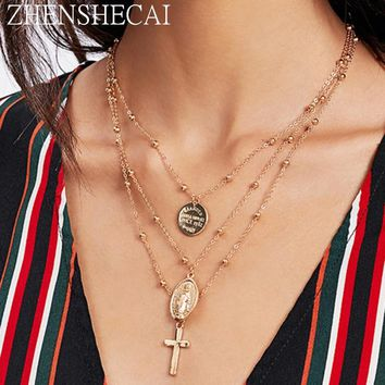 Europe and America style fashion chain necklace cross pendant round piece 3 layers summer beach necklace for women jewelry x86