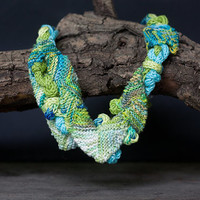 Long statement necklace, cotton knitted jewelry, chartreuse turquoise, OOAK