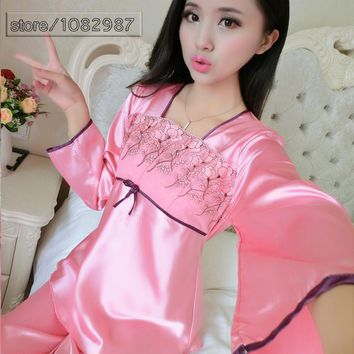 2017 Spring Summer Autumn Women Silk Pyjamas Sets of Sleepcoat & Sleep Pants Lady Casual Bedgown Female Nightwear Home Clothing