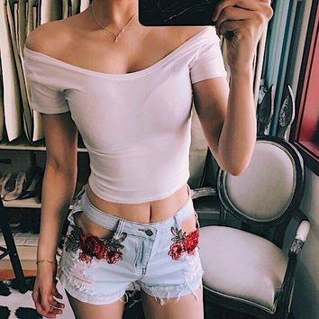 Women Simple Fashion Off Shoulder Short Sleeve T-shirt Low Chest Solid Color Crop Tops