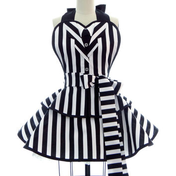 "Retro Apron - Black & White Striped ""It's Showtime"" Sexy Womans Suit Apron - Vintage Apron Style - Undead Pin up Rockabilly Cosplay Lolita"