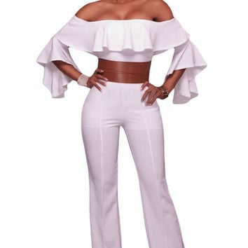White Ruffle Off-The-Shoulder Belted Jumpsuit LAVELIQ