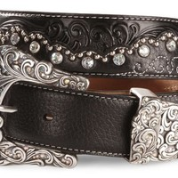 Tony Lama Kaitlyn Crystal Scalloped Leather Western Belt - Sheplers