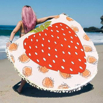 Strawberry Round Beach Terry Towel