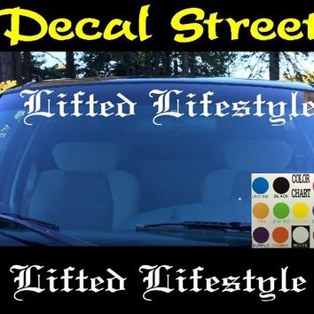 Lifted Lifestyle Windshield Visor Die Cut Vinyl Decal Sticker Diesel Old English Lettering