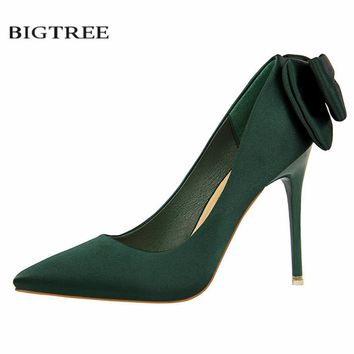 BIGTREE 2018 New Spring Fashion High Heels Shoes Sweet Thin Satin Bow High-heeled Single Female Pointed Shoes G1717-1