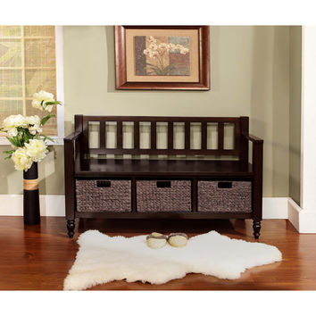 Bradwick Dark Exeter Brown Entryway Storage Bench