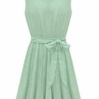 Summer 2014 Women's Sleeveless Pleated Chiffon Dress (Green, Asia S)