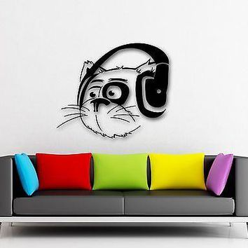 Wall Stickers Vinyl Decal Funny Cat Headphones Music Animal Musical Decor Unique Gift (ig681)