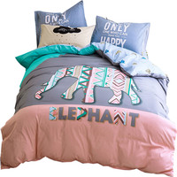 PAPA&MIMA Fashion Elephant pattern cartoon kids bedding set 3/4pcs queen twin size cotton duvet cover set pillowcase bedsheet