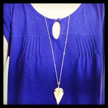 Gold Arrowhead Necklace - 24K Gold Dipped Arrowhead -  Native American Jewelry