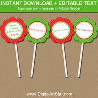 Printable Christmas Cupcake Toppers - EDITABLE Holiday Cupcake Picks - Printable Gift Tags - Christmas Tag Template Instant Download ARGD