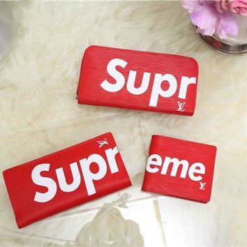 """Louis Vutitton×Supreme"" Unisex Purse Fashion Logo Letter Zip Long Short Section Fold Wallet Set Three-Piece"
