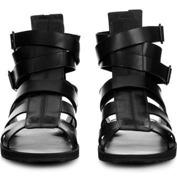 FR.LANCELOT new 2017 men gladiator sandals flat heel summer shoes real leather fretwork style male holiday sandals causal flats