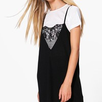 Gladys Lace Insert 2 in 1 Shift Dress | Boohoo